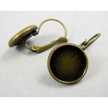 Āķi auskaru ražošanai, misiņš, var ielīmēt cabounion, 12 mm