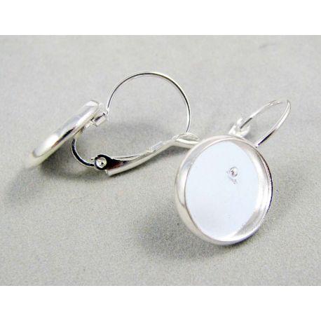 Āķi auskaru ražošanai, misiņš, sudraba krāsa, var ielīmēt cabošonu, 12 mm
