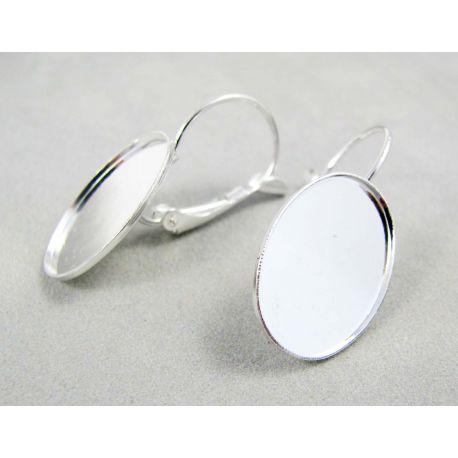 Kabliukai skirti auskarų gamybai, žalvariniai, sidabro spalvos 3 poros