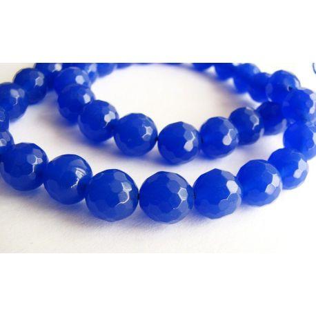 Safyro karoliukai šviesiai mėlynos spalvos briaunuoti apvalios formos 8mm