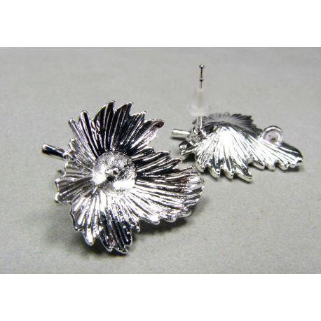 """Kabliukai auskarams """"Lapas"""", sidabro spalvos, 22x19 mm dydžio"""