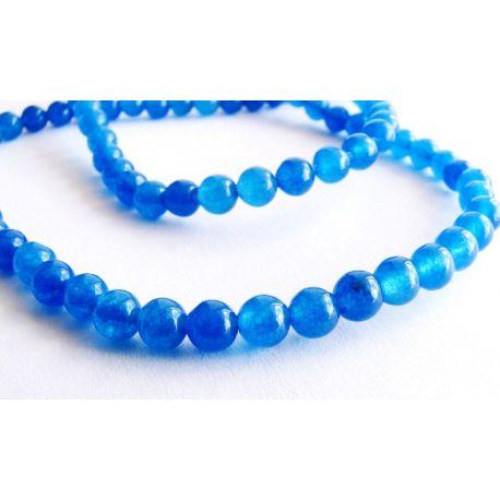 Safīra krelles zilas apaļas formas 4mm