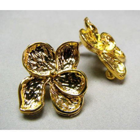 """Āķi auskariem """"Zieds"""", zelta izmērs 19x16 mm"""