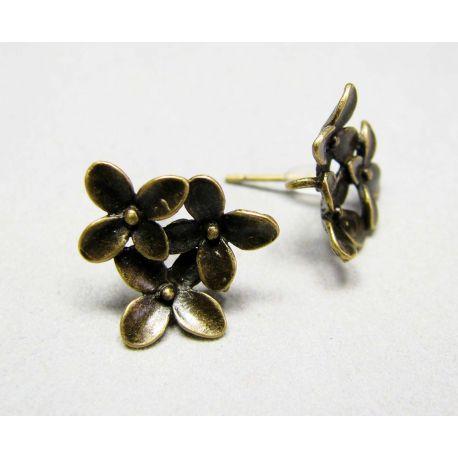 """Kabliukai auskarams """"Gėlytės"""", sendintos bronzinės spalvos, 15x14 mm dydžio"""