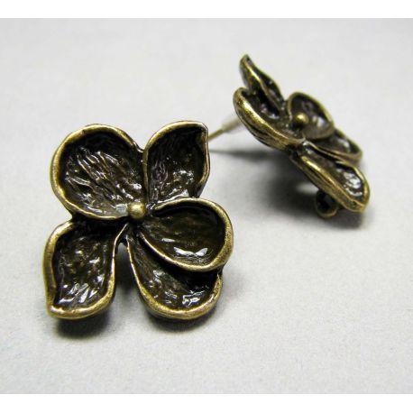 """Kabliukai auskarams """"Gėlytė"""", sendintos bronzinės spalvos 19x16 mm dydžio"""