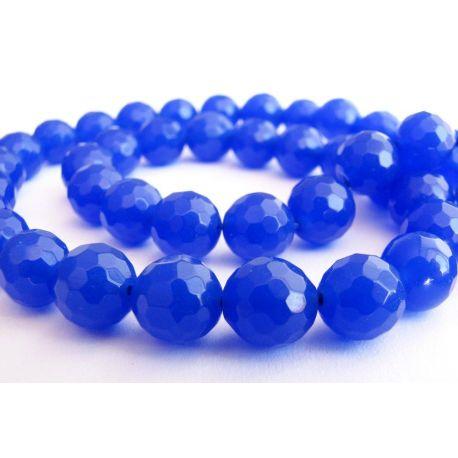 Sapphire beads blue-purple ribbed round shape 8mm