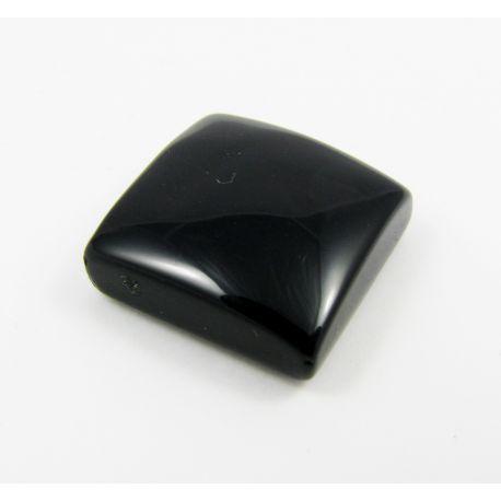 Onyx akmens kabošons, melns, izmērs 15x15x6 mm