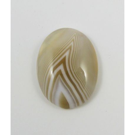 Agate cabochon, beige, oval 26x19x5 mm