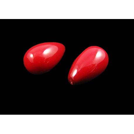 SHELL pärlist poolpuuritud helmed, punased, tilgakujulised, suurusega 15x9 mm