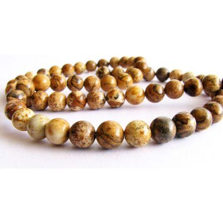 Jaspio beads brown mottled round shape 6mm