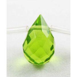 Sintetinio peridoto karoliukai žalios spalvos, lašo formos 12x8 mm