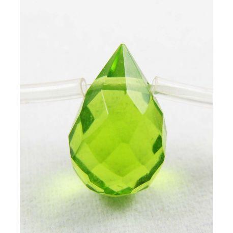 Synthetic perilide beads green, drop shape 12x8 mm