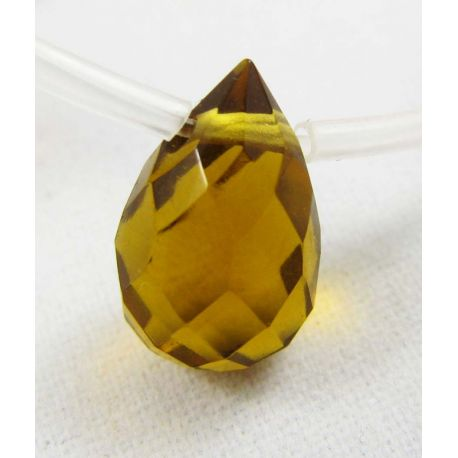 Sintetinio dūminio topazo karoliukai, geltonos spalvos, 12x8 mm