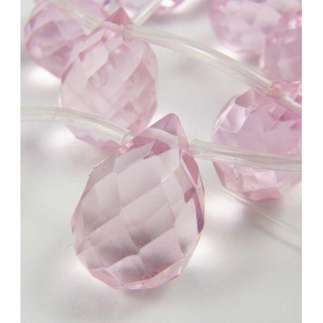 Synthetic pink quartz beads, drop shape 17x12 mm