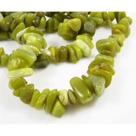 Jade bead rubble, green,8-23 mm in size