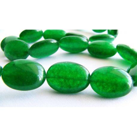 Emeraldo karoliukai žalios spalvos ovalo formos 10x14mm