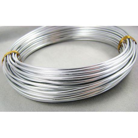 Alumīnija stieples sudraba krāsa, 1,5 mm bieza 10 metri