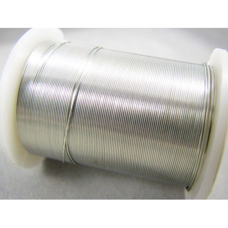 Copper wire, silver, 0.30 mm thick 10 meters