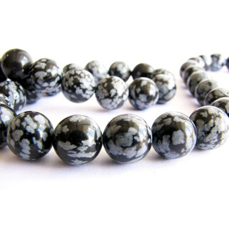 Snieginio obsidiano karoliukai juodos - pilkos spalvos apvalios formos 10mm