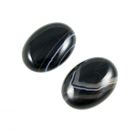 Sardonikso kabošonas, ovalo formos, juodos spalvos 30x22 mm