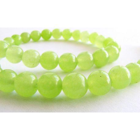 Peridoto karoliukai šviesiai žalios spalvos apvalios formos 8mm
