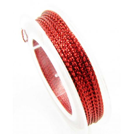Metallized thread, red, 0.6 mm thick