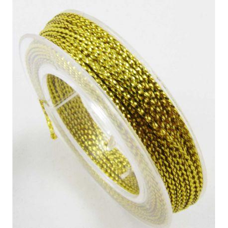 Metalizuotas siūlas, geltonos spalvos, 0.6 mm storio