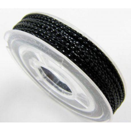 Metalizuotas siūlas, juodos spalvos, 0.6 mm storio