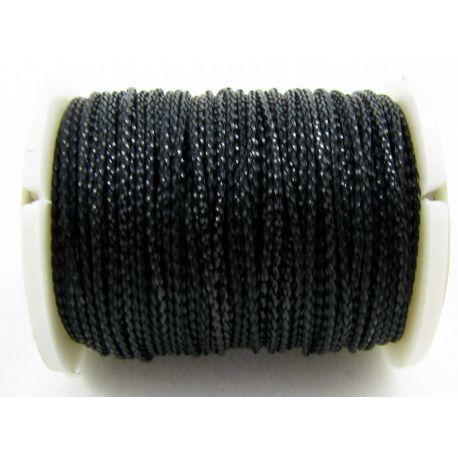 Metalizuotas siūlas, juodos spalvos, 0.7 mm storio