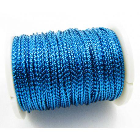 Metalizuotas siūlas, mėlynos spalvos, 0.7 mm storio
