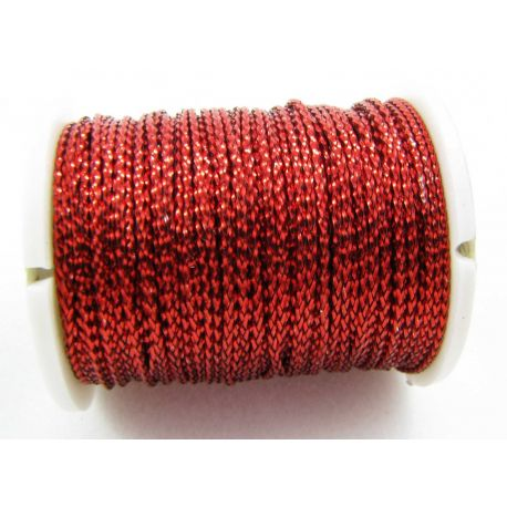 Metallized thread, red, 0.7 mm thick