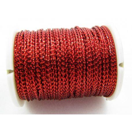Metalizuotas siūlas, raudonos spalvos, 0.7 mm storio