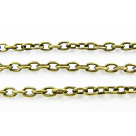 Grandinėlė bronzinės spalvos, 3x2 mm, 10 cm ilgio