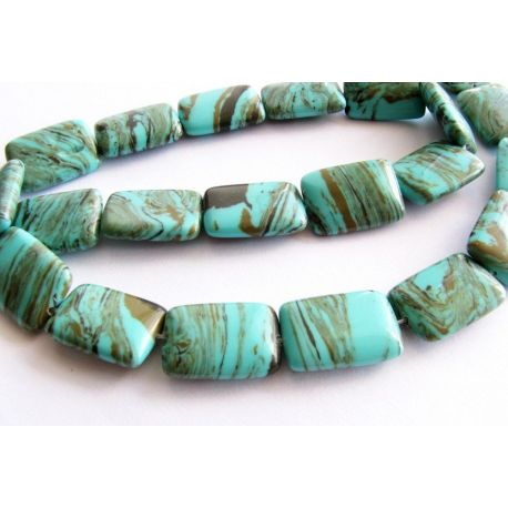 Synthetic turquoise beads greenish - brown rectangular 18x13mm