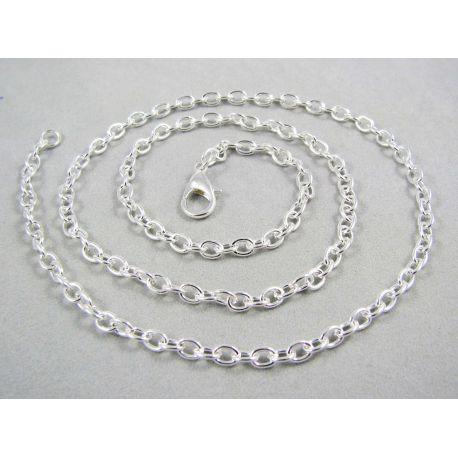 Grandinėlė, pasidarbruota, sidabro spalvos, 4x3 mm 46 cm ilgio