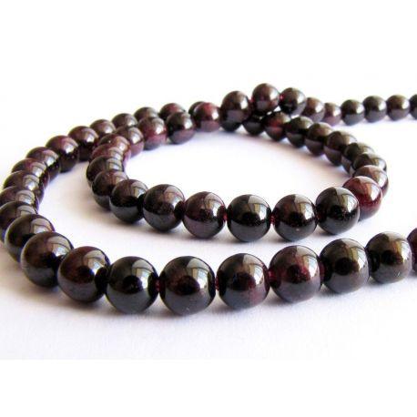 Granato karoliukai tamsiai vyšninės spalvos apvalios formos 4-5mm