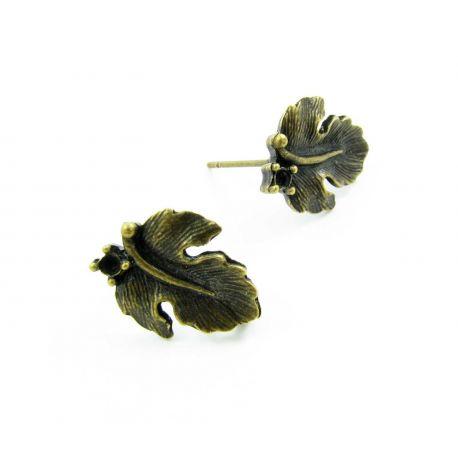 Earrings hooks, aged bronze 16x13 mm 3 pairs