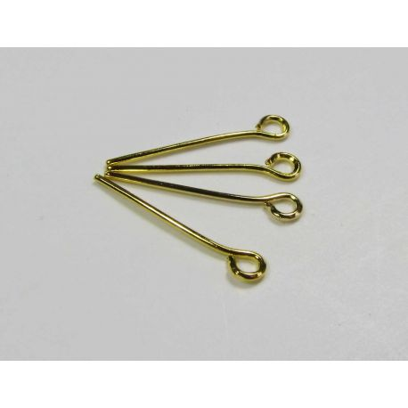 Pins for the manufacture of jewelry in gold color, with a loop 17x0.7 mm