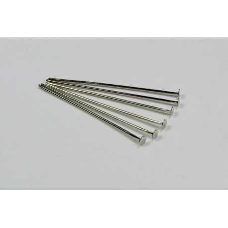 Copper pins for jewellery manufacture nickel-colored flat head 30x0.6 mm