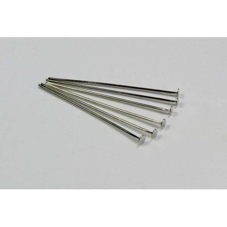 Juveelitoodete vasknõelad niklivärvi lameda peaga 30x0,6 mm