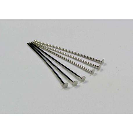 Smeigtukai variniai skirti papuošalų gamybai nikelio spalvos plokščia galvute 40x0,6 mm