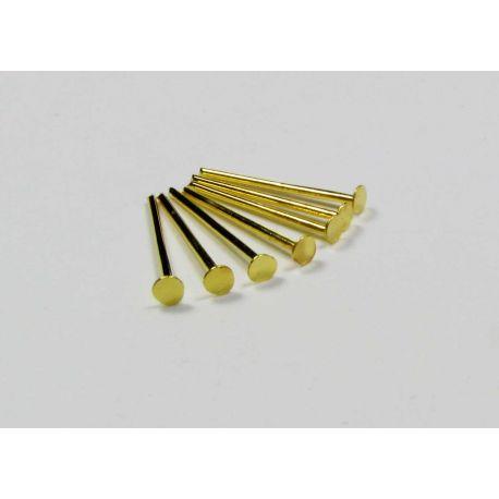 Smeigtukai skirti papuošalų gamybai aukso spalvos, plokščia galvute 16x0,7 mm