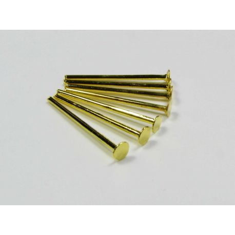 Smeigtukai skirti papuošalų gamybai aukso spalvos, plokščia galvute 24x0,7 mm