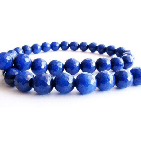 Safyro karoliukai mėlynos spalvos briaunuoti apvalios formos 8mm