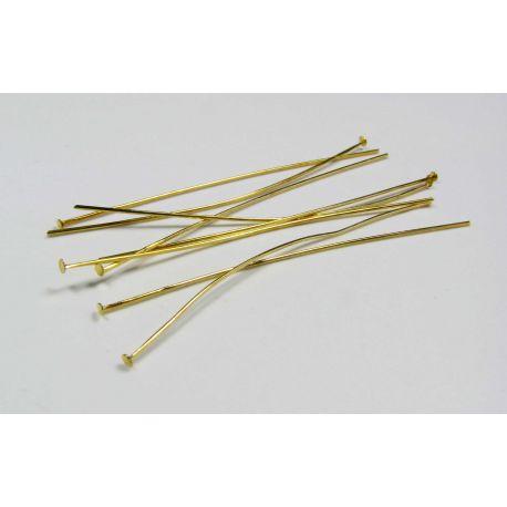 Smeigtukai variniai skirti papuošalų gamybai aukso spalvos, plokščia galvute 50x0,5 mm