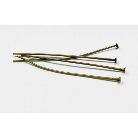 Smeigtukai skirti papuošalų gamybai bronzinės spalvos, plokščia galvute 50x0,7 mm