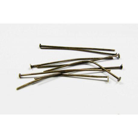 Smeigtukai skirti papuošalų gamybai bronzinės spalvos, plokščia galvute 40x0,7 mm
