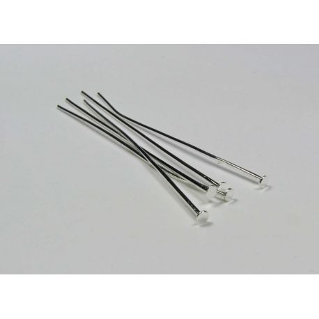 Pins for jewelry manufacture silver flat head 60x0.8 mm