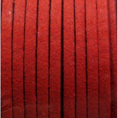 Zamšādas sloksne, sarkana 2,5 mm plata 1 metrs