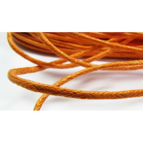 Waxed cotton cord, orange 1.5 mm